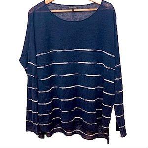 Eileen Fisher | 100% Linen Blue Stripe Sweater M